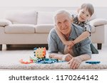 portrait grandpa and grandson... | Shutterstock . vector #1170264142
