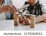 close up grandpa and grandson... | Shutterstock . vector #1170265012
