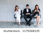 business people sitting on... | Shutterstock . vector #1170268135