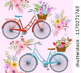 bicycle with flowers pattern. | Shutterstock .eps vector #1170271765