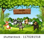 wild animals dancing in the... | Shutterstock .eps vector #1170281518