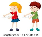 boy and girl floss dancing... | Shutterstock .eps vector #1170281545