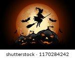 halloween background with... | Shutterstock .eps vector #1170284242