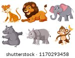 a set of wild animals on white... | Shutterstock .eps vector #1170293458