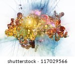 Digital Technology series. Visually pleasing composition of numbers, symbols and fractal elements to serve as  background for such subjects as science, information and modern technology - stock photo