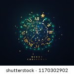 new year shiny gold clock  five ... | Shutterstock .eps vector #1170302902