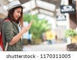 asian women travel shopping... | Shutterstock . vector #1170311005