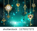 gold  antique keys with gears... | Shutterstock .eps vector #1170317272