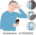 senior citizen  who can not see ... | Shutterstock .eps vector #1170326092