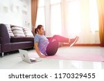 asian women exercise doing v... | Shutterstock . vector #1170329455