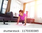 asian women exercise doing... | Shutterstock . vector #1170330385
