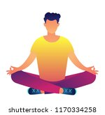 office worker meditating in the ... | Shutterstock .eps vector #1170334258