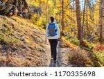 woman tourist walking on trail... | Shutterstock . vector #1170335698