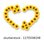 sunflowers in shape of heart... | Shutterstock . vector #1170338248
