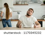 lazy millennial husband look... | Shutterstock . vector #1170345232