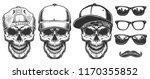 set of skull in cap. hipster... | Shutterstock .eps vector #1170355852