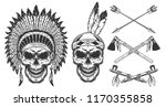set of skull in indian headwear.... | Shutterstock .eps vector #1170355858