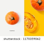 creative layout made of pumpkin.... | Shutterstock . vector #1170359062
