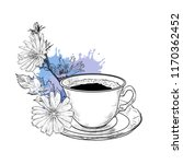 chicory flowers and coffee cup... | Shutterstock .eps vector #1170362452