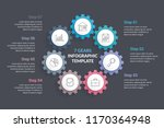 circle diagram with seven gears ... | Shutterstock .eps vector #1170364948