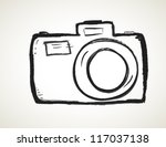 scribble hand drawn camera icon ... | Shutterstock .eps vector #117037138
