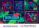 vector set of tropical quotes ... | Shutterstock .eps vector #1170379915