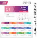 desk calendar 2019. simple... | Shutterstock .eps vector #1170383635