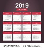 desk calendar 2019. simple red... | Shutterstock .eps vector #1170383638