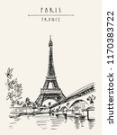 eiffel tower in paris  france.... | Shutterstock .eps vector #1170383722