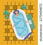 woman taking a bath tub | Shutterstock .eps vector #1170404872