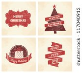 a set of four vintage style... | Shutterstock .eps vector #117040912