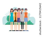 group of women in the field... | Shutterstock .eps vector #1170415642