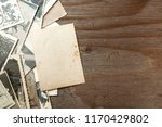 stack old photos on table. mock ... | Shutterstock . vector #1170429802