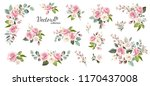 Stock vector set of floral branch flower pink rose green leaves wedding concept with flowers floral poster 1170437008