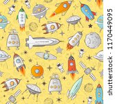 seamless pattern with space... | Shutterstock .eps vector #1170449095