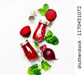 delicious beetroot smoothies in ... | Shutterstock . vector #1170451072