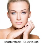 beautiful face of a young...   Shutterstock . vector #117045385