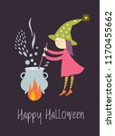 cute young witch brews a potion ... | Shutterstock .eps vector #1170455662