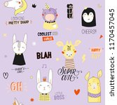 super cute animal seamless... | Shutterstock .eps vector #1170457045