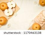 snow pear or korean pear on... | Shutterstock . vector #1170463138