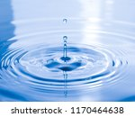 close up drop of water on blue... | Shutterstock . vector #1170464638