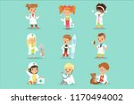 adorable kids playing doctor... | Shutterstock .eps vector #1170494002