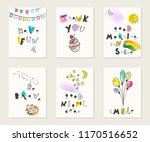 hand drawn ink and watercolor... | Shutterstock .eps vector #1170516652