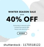 40  off price discount. winter... | Shutterstock .eps vector #1170518122