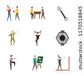 set of 9 simple icons such as... | Shutterstock .eps vector #1170518845