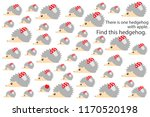 find hedgehog with apple  fun... | Shutterstock .eps vector #1170520198