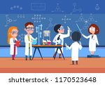school kids in chemistry lab.... | Shutterstock .eps vector #1170523648