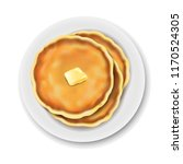 plate with pancake isolated...   Shutterstock .eps vector #1170524305