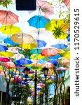 colorful of umbrella in garden...   Shutterstock . vector #1170529615