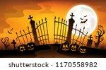 cemetery gate silhouette theme...   Shutterstock .eps vector #1170558982